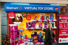 In Toronto Mattel CanadaandWalmart Canada opened a pop-up virtual toy store.With two walls of three-dimensional toy images, consumers can simultaneously window-shop and make purchases with their phones.