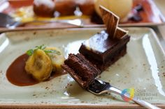 Tapenade ✮ Gianduja Cake (P290 +10% service charge). Chocolate-Hazelnut Mousse, Crunchy Praline, & Salted Caramel Banana. Indulge in this nutella-like cake with crunchy pralines and salted caramel! I like how the banana gives it a different flavor profile (best eaten between bites of the cake).