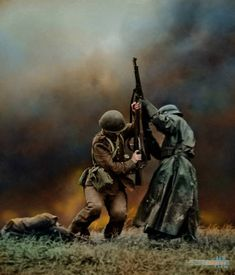 Close combat between a Polish and German infantry soldier at the Battle of Mlawa, Northern Poland, Sep 1939 Ww2 Pictures, Ww2 Photos, German Soldiers Ww2, German Army, American Soldiers, Military Art, Military History, Military Deployment, Foto Portrait