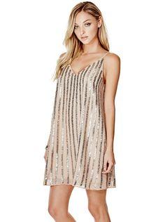 Jaslyn Embellished Trapeze Dress | GUESS.com