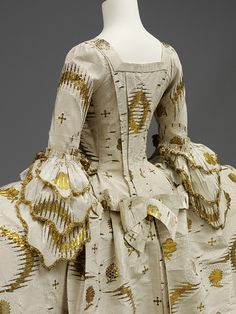 Close-Up (Back View) of Mantua Court Dress with Wide Hoops, English, c. 1755-1760