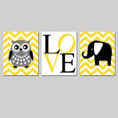 This is a collection of three original inch prints that can be hung together in a trio format (shown) or hung separately. Chevron Nursery Boy, Elephant Nursery Art, Nursery Canvas, Yellow Nursery, Nursery Wall Art, Feather Wall Art, Woodland Nursery Decor, Card Making Inspiration, Prints