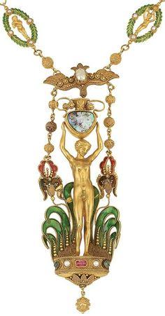Detail: Art Nouveau antique gold, boulder opal, enamel, gem-set and pearl pendant-necklace