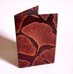 Leather Card Case  Ginkgo Leaf Pattern in by GardenourLeather, $17.00