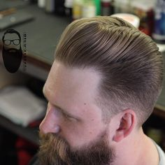Did this haircut for a little bio video I'm doing. Mens Hairstyle Images, Straight Hairstyles, Cool Hairstyles, Pompadour, Barber Shop Haircuts, Handsome Bearded Men, Gents Hair Style, Beard Quotes, Beard Styles For Men