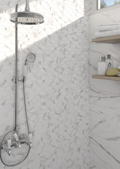 Mosaico Hati Blanco | Arcana Tiles | Arcana Ceramica | shower | walltiles Tiles, Shower, Bathroom, Mosaics, Interiors, Room Tiles, Rain Shower Heads, Washroom, Tile