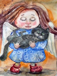 Монахова Лариса Викторовна Акварель Ангельский кот Графика Стилизация Бумага, акварель. 42х30 2015 девочка кот ангел акварель