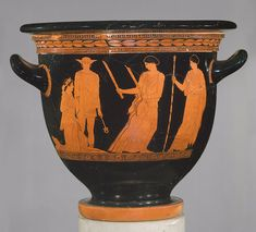Terracotta bell-krater (bowl for mixing wine and water) depicting (from left to right) Persephone, Hermes, Hekate and Demeter. (The Metropolitan Museum of Art) Ancient Greek Dress, Ancient Greek Art, Ancient Greece, Greek Pottery, Slab Pottery, Classical Period, Terracotta, Greek Culture, Roman Art