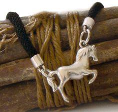 Black Rope Necklace Large Horse Pendant Necklace Metal Horse Pendant Chocker Statement