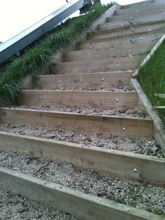 Construction idea for steps built into the hillside, as seen at a local park.