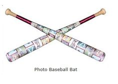 "Photo Baseball Bat!  Send us up to 20 photos and we'll create an amazing photo collage utilizing a 30"" wooden baseball bat. Add text to further personalize it. Each panel is acccented with a color coordinated ribbon and your choice of silver or gold studs. Each Photo Baseball Bat is handmade so no two will ever be exactly the same."