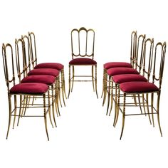 "Remarkable Set of Nine ""Chiavari"" Brass Chairs 