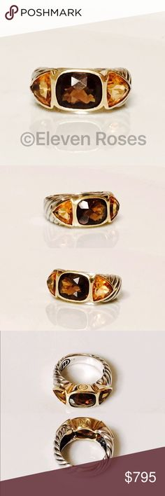 David Yurman Smoky Quartz & Citrine Mosaic Ring Classic David Yurman Mosaic Renaissance Ring - 925 Sterling Silver & 750 18k Yellow Gold - Smoky Quartz & Golden Citrine Gemstones - Hallmarked; D.Y., 925, 750 - US Size 6.25 - Able to be Re-sized -  Preowned / Preloved   May Show Slight Signs Of Having Been Worn.     Listing Images Are Of Actual Item Being Offered David Yurman Jewelry Rings