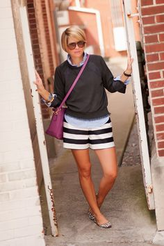 seersucker and saddles Cute Summer Outfits, Short Outfits, Cool Outfits, Casual Outfits, Fashion Outfits, Fashion Fashion, Bermuda Shorts Outfit, Spring Summer Fashion, Autumn Fashion