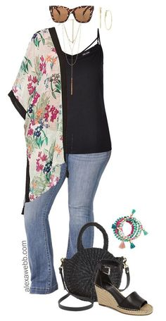 Plus Size Floral Kimono - Alexa Webb - Plus Size Floral Kimono Outfit Idea – Plus Size Flared Jeans – Plus Size Fashion for Women – - Fashion 101, Fashion Advice, Look Fashion, Fashion Outfits, Womens Fashion, Fashion Trends, Fashion Styles, Feminine Fashion, Fashion Spring
