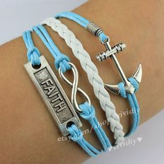 Infinity braceletFaith braceletAnchor braceletwax rope by vividiy, $4.99