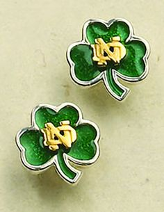 Notre Dame Shamrock Jewelry Collection Post Earrings