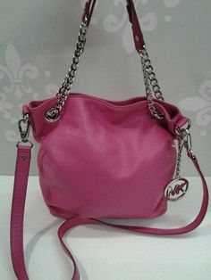 I Love Handbags That Are Practical And Easy  To Carry!  Michael Kors Hot Pink Leather Cross Body Messenger Chain Link Bag.