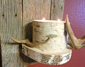 Rustic Antler Wall Sconce -  Birch Candle Wall Sconce, Cabin & Lodge Decor, Real Whitetail Deer Antlers