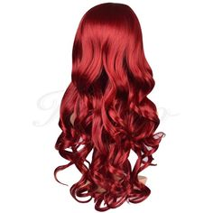 Kamo Charming Long Wavy Wine Red Hair Synthetic Wig Women's Party Full... ❤ liked on Polyvore featuring beauty products, haircare, hair styling tools, hair and red hair care