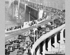 The San Francisco–Oakland Bay Bridge opened on this day November 12, 1936, 3 years, 4 months and 4 days after the start of construction on July 9, 1933.  Originally it carried automobile traffic on its upper deck in both directions and trucks, trains and interurban streetcars on the lower.