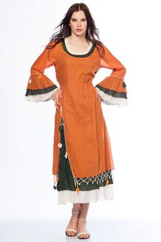 otantik elbiseler | Otantik Gümbet Elbise - Orange