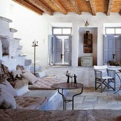 White living room: white living room ideas – Marie Claire House – Deco # by AllisonAmbra Living Room White, White Rooms, Home And Living, Interior And Exterior, Interior Design, Greek House, Living Room Remodel, Outdoor Spaces, Living Spaces