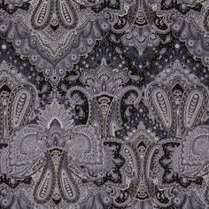 Multi-Gray Paisley Printed Corded Cotton Sateen