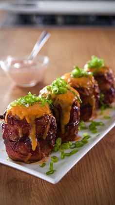 This isn't your normal baked potato. With gooey cheese and bacon, this dish will have your taste buds exploding. Baked Potato Volcano, Volcano Potatoes, Potato Dishes, Potato Recipes, Veggie Recipes, Cooking Recipes, Strip Steak, Broccoli, Filet Mignon