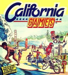 California Games Commodore 64 By Epyx) is a sports video game. Game consisted of some sports purportedly popular in California including skateboarding, freestyle footbag, surfing, roller skating, flying disc (frisbee) and BMX. Best Computer, Gaming Computer, History Of Video Games, 90s Art, Frisbee Disc, 80s Kids, Roller Skating, Bmx, Videos