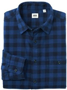 Uniqlo Men Flannel Checked Long Sleeve Shirt on shopstyle.com