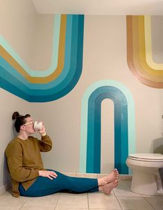 Our curvy bathroom mural + using all the paint during social isolation! Room Wall Painting, Mural Painting, Diy Painting, Bathroom Mural, Interior Wallpaper, Room Of One's Own, Kid Spaces, Wall Murals, Kids Room