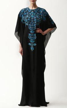 Georgette Caftan With Turquiose Embroidery by Naeem Khan on Moda Operandi