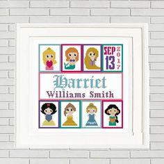 Birth announcement cross stitch pattern/disney princess cross