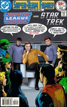 Justice League of America And Star Trek Super Team Family; The Lost Issues You just know Kirk is going to hit on Wonder Woman Marvel Vs, Comic Book Covers, Comic Books Art, Crossover, Dc Comics, Star Trek Books, Star Trek Beyond, Star Trek Universe, Vintage Comics