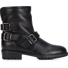 Giuseppe Zanotti Design combat boots (3 085 BGN) ❤ liked on Polyvore featuring shoes, boots, ankle booties, black, black leather flats, black ankle booties, black leather booties, pull on leather boots and army boots