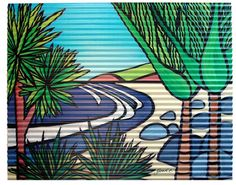 Outdoor Art. Title: Secluded Beach Artist : Sarah C  Medium: Corrugated iron art print.  See www.sarahc.co.nz
