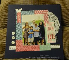 FRIDAY, AUGUST 16, 2013  Family Scrapbook Page | Paper:   Quatrefancy Specialty Designer Series Paper, Whisper White, Night of Navy, Strawberry Slush Accessories:  Stickers, Doily and buttons from a local craft store, Pearls, Urban West Rub-ons Tools:   Border Punch from a local craft store, Elegant Butterfly Punch