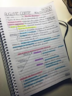 #AugusteComte #Positivismo #Sociologia #Teorias Creative Notebooks, Pretty Notes, Study History, Knowledge And Wisdom, Student Motivation, Study Hard, Studyblr, Study Notes, School Hacks