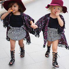 E&A takin' over the fashion world hand in hand!  Kimonos: @EchoesVoice  Shorts: @TopKnotsAndTwirls  Gladiators: @Joyfolie  Hats: @roseandbelleclothing  Black tanks: @Target PC: @littleredrosephotography #joyfolie #ForEverAndForAva #EverleighRoseAndAvaMarie #photos4ellen