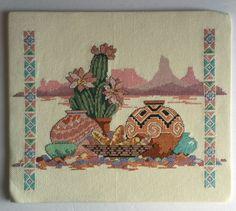 "Cross Stitch Southwestern Indian Cactus Needlepoint Completed 12"" x 14""   Crafts, Needlecrafts & Yarn, Embroidery & Cross Stitch   eBay!"