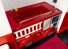 Fire Truck bath insert slips over existing tub!  Also a princess one.  Love!