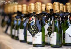 Mini champagne bottle wedding favours! 1920s NAVY & GOLD GLAM WEDDING INSPIRATION www.elegantwedding.ca