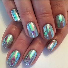 A holographic mermaid manicure.