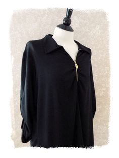 #SusanGraver XL top casual stretch zip pullover shirt jacket ruched 3/4 sleeve black #fashion