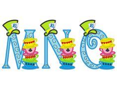 Mad hatter tea party entire alphabet - machine embroidery applique designs 5x7 by artapli on Etsy