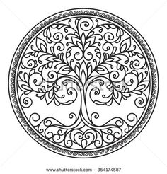 decor element vector black and white illustration mandala tree circle heart leaves plant design element abstract Flower Mandala, Mandala Art, Lotus Mandala, Mandala Design, Dotwork Tattoo Mandala, Plant Tattoo, Tattoo Tree, Tattoo Ribs, Tattoo Finger