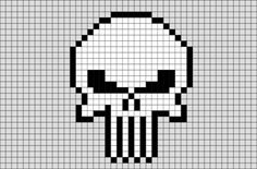 The Punisher is probably best known as the Marvel superhero who shoots everyone in the face, mostly due to his penchant for shooting everyone in the face. Crochet Skull Patterns, Pearler Bead Patterns, Beading Patterns, Cross Stitch Patterns, Cross Stitch Skull, Tiny Cross Stitch, Punisher Logo, Punisher Skull, Anime Pixel Art