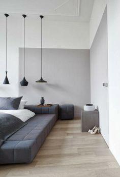 Graues Schlafzimmer - leuchtend-grau.de #Grey #Bedroom #minimal #Minimalism