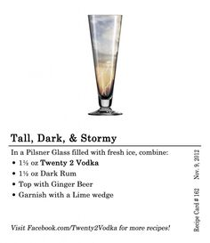 Tall, Dark, & Stormy Cocktail Recipe: Vodka, Rum, Ginger Beer, Lime